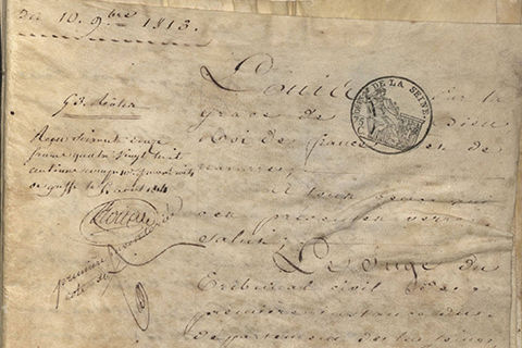 An official looking, handwritten French document  with seals, dated September 10, 1813