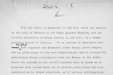 "A typewritten document with handwritten notations, at the top, in script are the words: ""Greek IX [illegible]"""