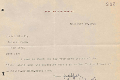 "A typewritten letter dated December 18, 1903, on letterhead which says ""Aspet, Windsor, Vermont"""
