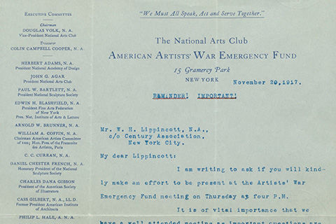 A page from a program dated November 20, 1917, titled: The National Arts Club American Artist's War Emergency Fund