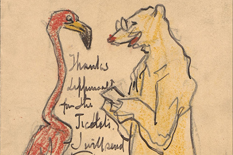 A drawing of a flamingo (on the left) and a polar bear wearing glasses (on the right); the polar bear is holding a note and seems to be reading it aloud to the flamingo; between the pair of animals is handwriting, which says: Thanks [illegible] for the Tickets. I will send [remainder cut off].