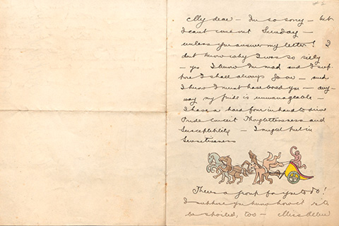 A handwritten letter with a colorful illustration at the bottom of the page, of a pink monkey driving a yellow Roman-style chariot driven by four unruly horses colored blue, brown, and pink