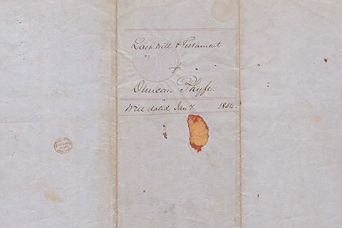 A handwritten document titled: The last will and testament of Duncan Phyfe; will dated [illegible] 1854
