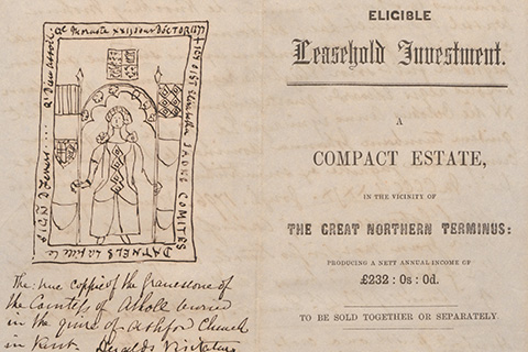 An official looking document stating: Eligible Leasehold Investment: a Compact Estate in the vicinity of the great northern terminus producing a set annual income of 232 pounds, 0 shillings, 0 pennies to be sold together or separately, on the right, and on the left, a pen and ink drawing of a woman standing in an archway with a hand-written caption underneath