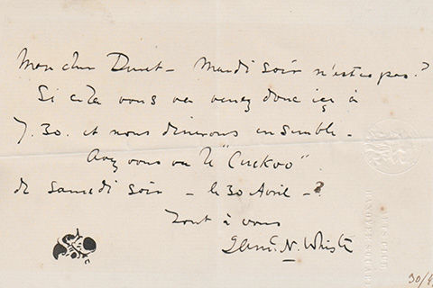 A handwritten note written by James Abbott McNeill Whistler in black ink on stationary embossed with the seal and name of the Arts Club Hanover square