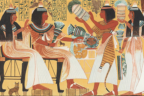 A brightly colored facsimile of an ancient Egyptian wall scene including one female and one male sitting figure, and one female and one male standing figure; the standing figures seem to be presenting the sitting figures with gifts