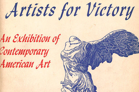 "A cover of a catalogue with the text: ""Artists for Victory: An Exhibition of Contemporary American Art"" and an illustration of a winged, headless, armless ancient Greek statue of a goddess"