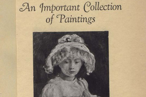 The cover of a catalogue with a black-and-white portrait painting of a young girl in a lacy hat and text which reads: An Important Collection of Paintings