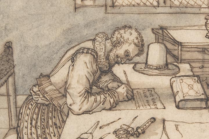 16th-century man writing on a long table
