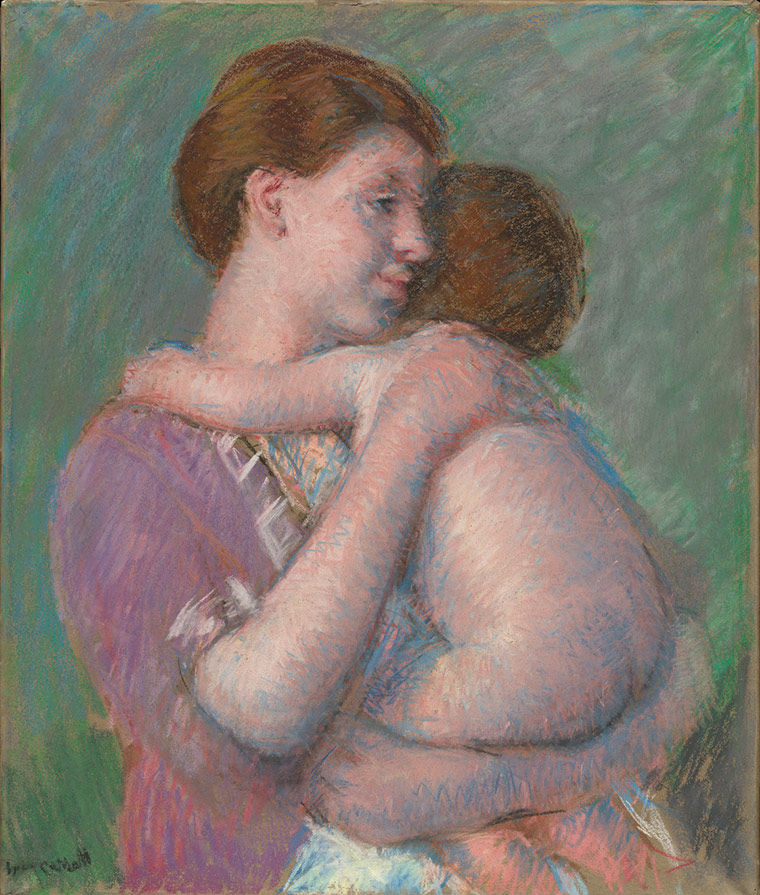Pastel of mother and child by Mary Cassatt