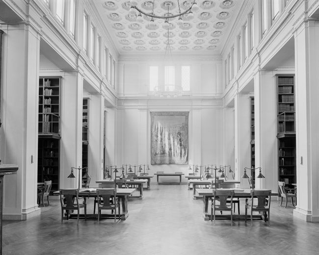 The Metropolitan Museum of Art, Wing G, First Floor, Library: Main Reading Room; View facing south. Photographed 1910. © The Metropolitan Museum of Art