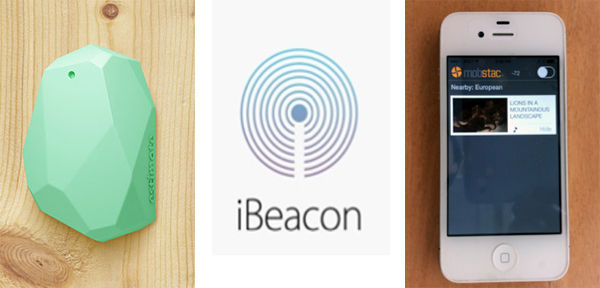 Fig. 1. Beacons continuously advertise their locations using BLE. All Bluetooth friendly-devices such as iPhones monitor the signal strength and convert it to proximity. Once the user is in the desired proximity range, the corresponding app content is triggered. Beacon image courtesy of InnoQuant blog