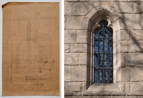 Drawing for one of three grilles designed for the Treasury windows and Grille as installed in a Treasury window at The Cloisters