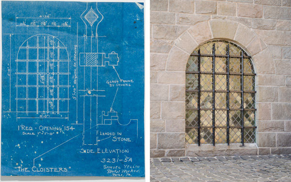 Drawing for a window grille on the Postern Gate stairs and Window grille as installed at The Cloisters