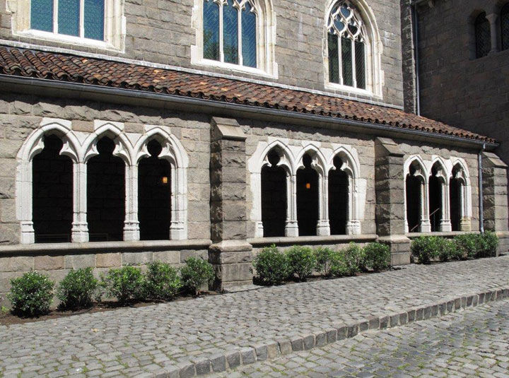 View of a 15th-century stone arcade as installed at The Met Cloisters