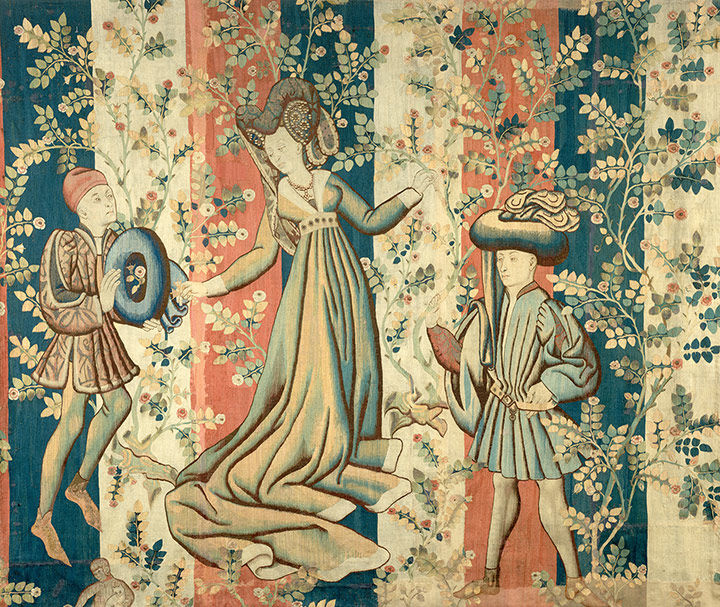 Tapestry of Courtiers in a Rose Garden: A Lady and Two Gentlemen