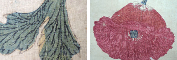 Fig. 1. Detail of flowering poppy plant (left) and leaf (right) highlighting the mordant and dye painting by hand (1982.239b). Photo by Yael Rosenfield