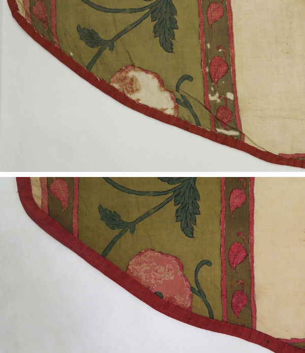 Fig. 5. Before (top) and after (bottom) details of treatment. The red binding was removed, the edges were humidified flat, and the fabric was stitched with couching stitches to the areas of loss for stabilization (1982.239a). Photo by Julia Carlson