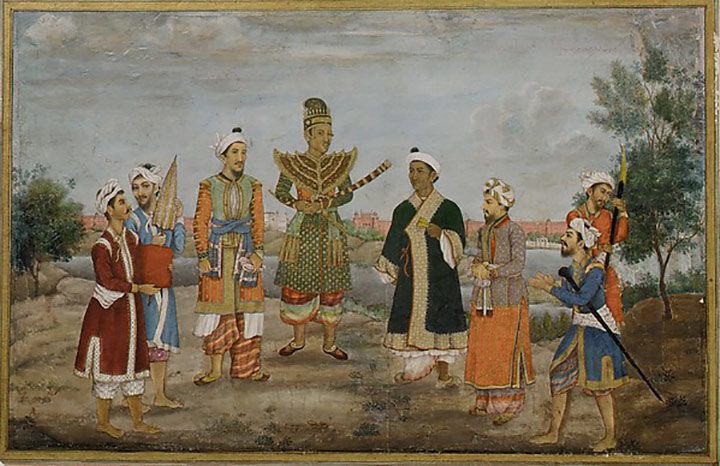 Watercolor painting of eight men in Indian and Burmese costume
