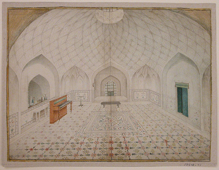 Watercolor of the interior of the bathhouse at the Red Fort, Delhi