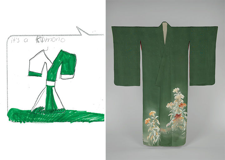 Side by side of Kimono and drawing