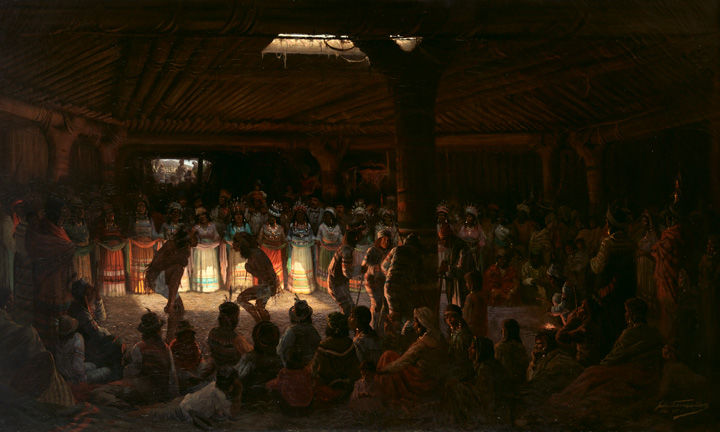 Jules Tavernier paintings of nearly 100 figures watching members of the Pomo Indian tribe act out a coming-of-age ritual