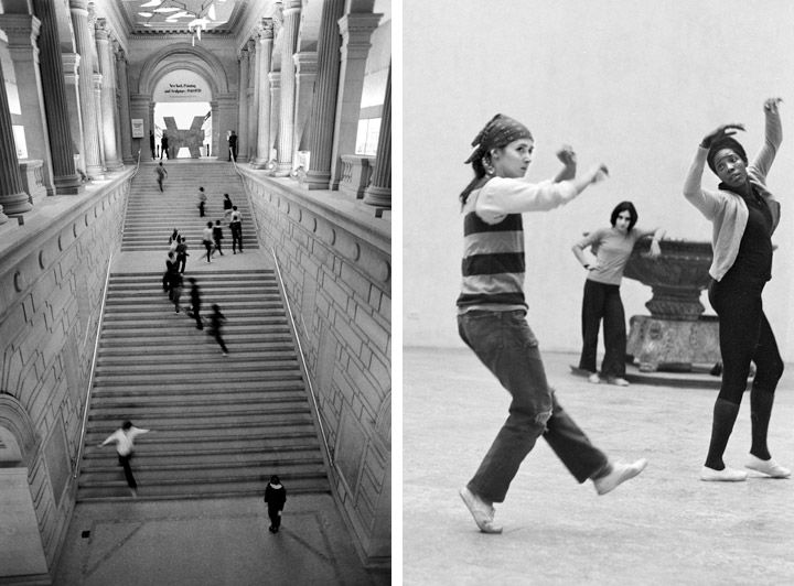 Two photos of Twyla Tharp and Dancers performing at The Met in 1970; on the left, the dancers perform on the grand staircase, on the right, dancers perform in a gallery