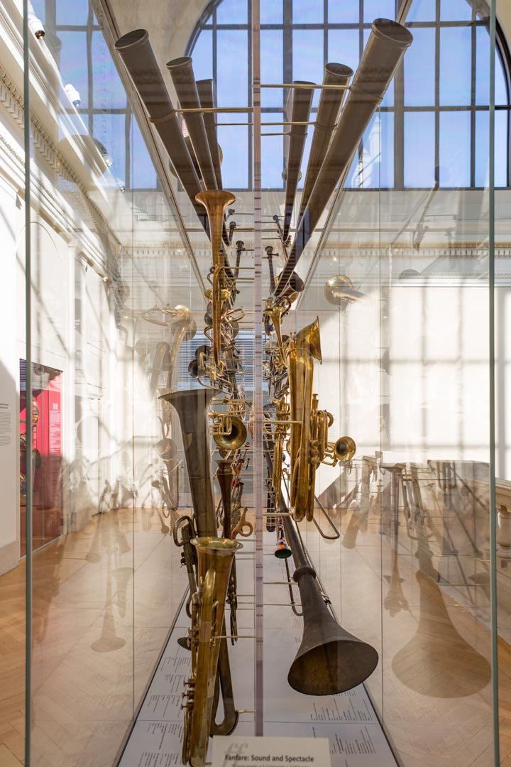 Close-up view of a large tuba in The Met collection