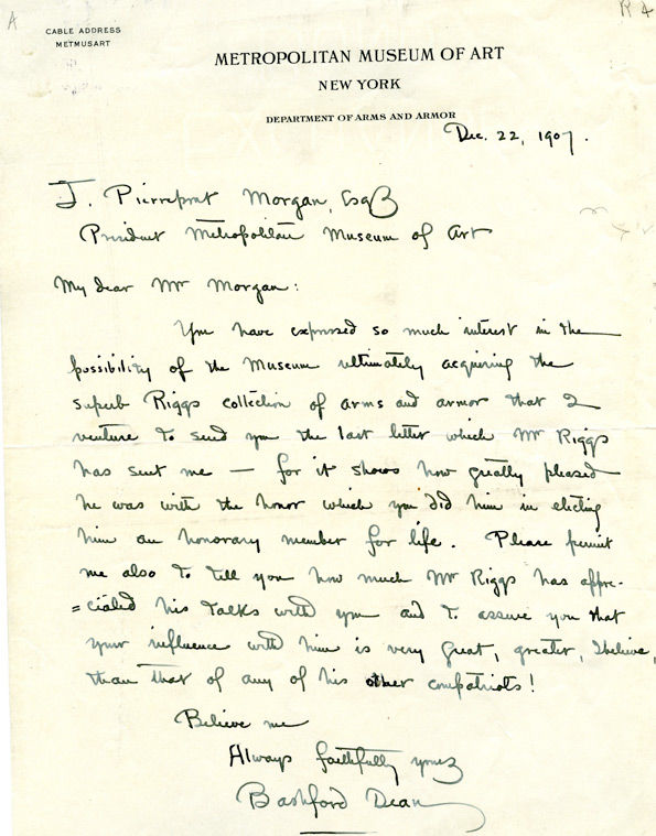 Letter from Bashford Dean to Museum President J. P. Morgan