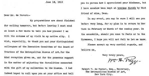 William H. Riggs letter to Museum Secretary Robert W. de Forest