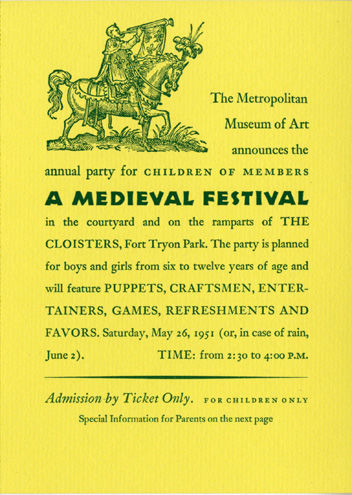 Invitation to the Medieval Festival for Children, 1951