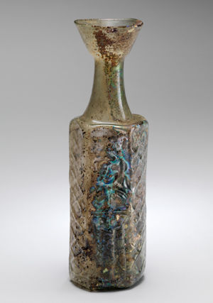 Yellow-Green Hexagonal Glass Bottle with a Stylite Saint (61.247)