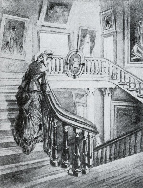 Drawing of the main staircase in the Douglas Mansion by Frank Waller