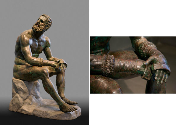 Boxer at Rest, Greek, Hellenistic period, late 4th–2nd century B.C., bronze with copper inlays.