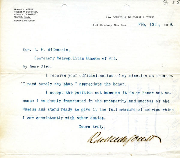 Letter from Robert W. de Forest to Luigi Palma di Cesnola, first director of The Metropolitan Museum of Art
