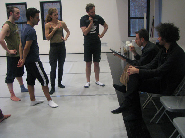 Alan Pierson and composer Tyondai Braxton attend a Dance Heginotham rehearsal for Twinned. Photo courtesy of Met Museum Presents