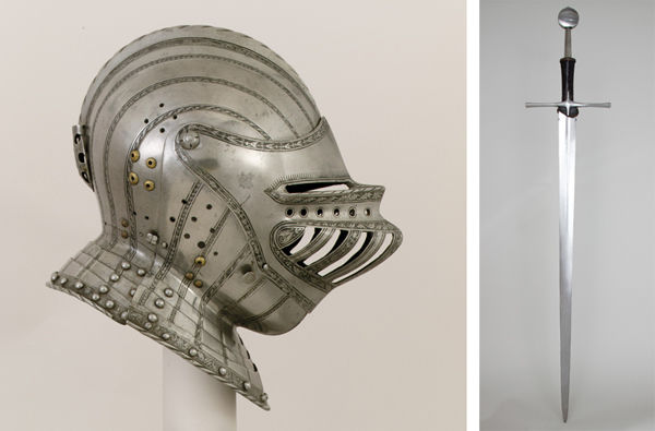 Left: Close Helmet for a Boy. Right: Hand-and-a-Half Sword