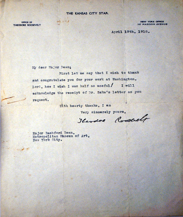 Letter from Theodore Roosevelt to Bashford Dean