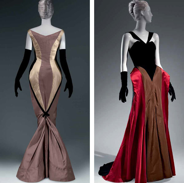 "Charles James (American, born Great Britain, 1906–1978). Left: ""Diamond"" Evening Dress, 1957; Right: Ball Gown, 1946"