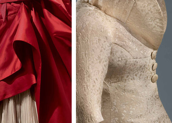 Charles James (American, born Great Britain, 1906–1978). Left: Detail of Ball Gown, 1949–50; Right: Detail of Dinner Suit, 1956