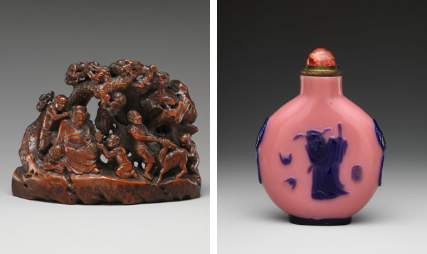 Left: Demon Queller Zhong Kui with Demons.  China, Qing dynasty (1644–1911), late 17th–early 18th century; Right: Snuff Bottle with Demon Queller Zhong Kui. China, Qing dynasty (1644–1911), Daoguang period (1821–50)