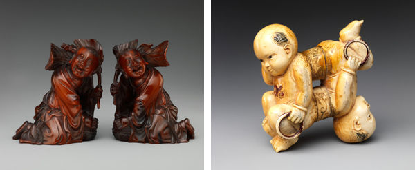 Left: Boys with Leaves and Boxes. China, Qing dynasty (1644–1911), 19th century; Right: Twin Boys. China, Qing dynasty (1644–1911), 18th century