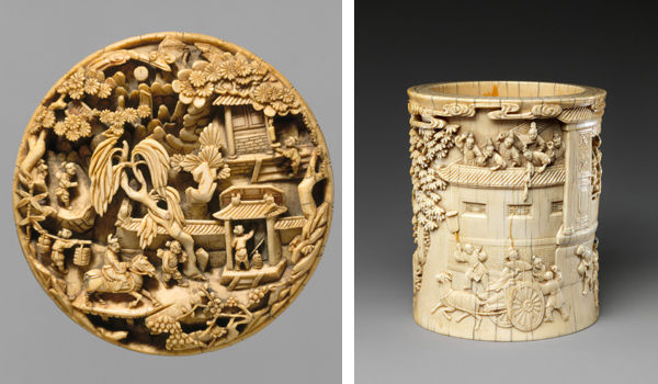 Left: Medallion with Return from a Spring Outing. China, Ming dynasty (1368–1644), late 16th–early 17th century; Right: Brush Holder with Story of Pan Yue or Wei Jie. China, Qing dynasty (1644–1911), 18th century