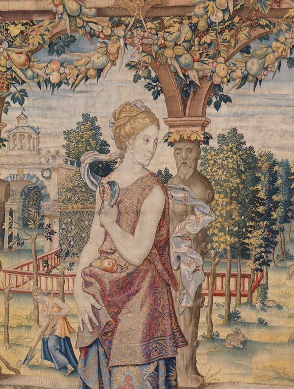Detail of Pomona from Story of Vertumnus and Pomona: Vertumnus appears to Pomona in the guise of a Herdsman. Design attributed to Pieter Coecke van Aelst (Netherlandish, 1502–1550), ca. 1544. Tapestry woven under the direction of Willem de Pannemaker, Brussels, sometime between ca. 1548 and 1575. Wool, silk, gold and silver metal-wrapped threads; 164 1/2 x 211 in. (418 x 536 cm). Royal Palace, Madrid (TA-17/II, 10004061)