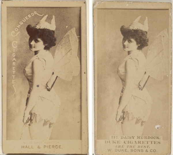 Composite of two tobacco cards