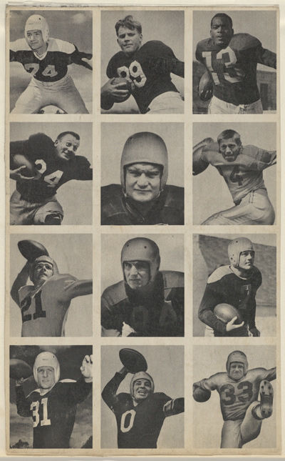 Sheet of 12 uncut football cards