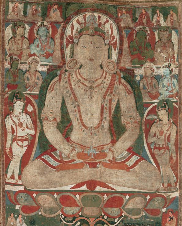 Buddha Amitayus Attended by Bodhisattvas.  Tibet, 11th or early 12th century.