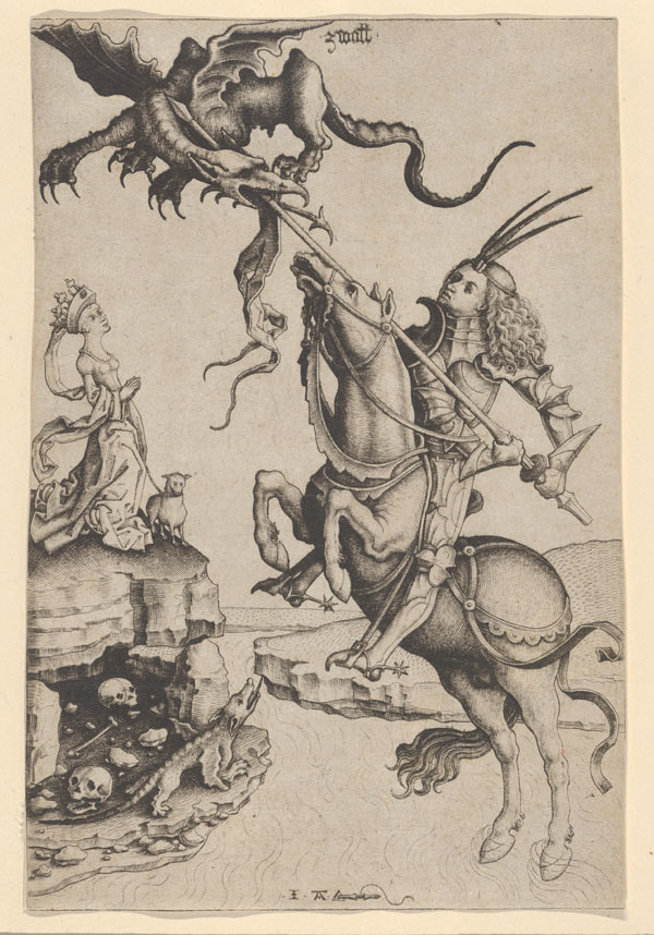 Master IAM of Zwolle (Netherlandish, active ca. 1470–95), St. George and the Dragon, ca. 1485–ca. 1495