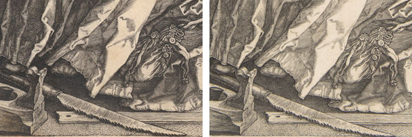 Details of two prints of Melancolia