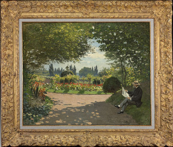 Claude Monet (French, 1840–1926). Adolphe Monet (1800–1871) Reading in a Garden, 1867. Oil on canvas. Lent by Lawrence J. Ellison